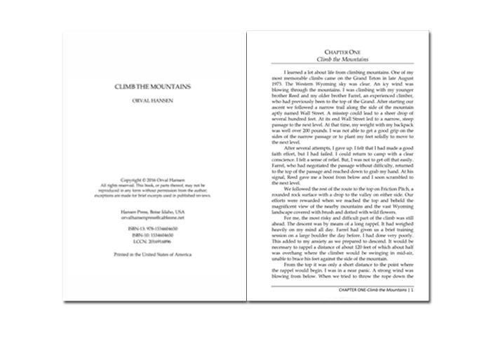 Sample Book Design - Climb the Mountains - Dorothy Read and Associates